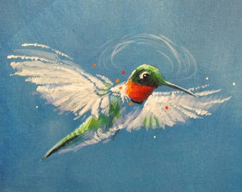 Hummingbird II - original daily painting by Kellie Marian Hill