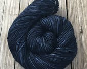 Hand Dyed Sock Yarn Davy Jones' Locker Hand Painted sockyarn 463 yards dark navy blue fingering weight Treasured Toes swm midnight blue