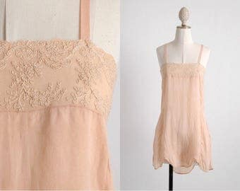 unworn 1920s vintage peach silk + embroidered chiffon teddy * LG078