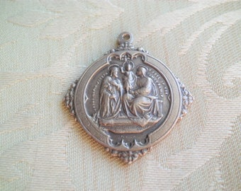 Vintage Sterling F KOCH Holy Family Our Lady of Perpetual Help Religious Medal
