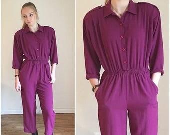 SUMMER SALE Purple Jumpsuit, Harem Playsuit, Dressy Jumpsuit, Tapered Harem Pants, Blouson Playsuit, Harem Style Pantsuit, Tapered Pants Bag