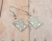 Earrings - State of Minnesota Charms - MN - Vikings - Silver Pewter