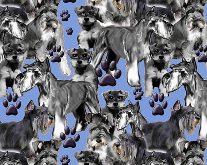 schnauser mural in blue fabric