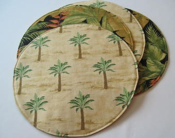Palm Tree Round Placemats Reversible Set of 2, 4 or 6 Tropical Circular Placemats Hawaiian Placemats Beach House Palm Tree Decor Green Tan
