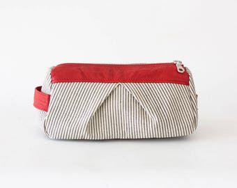 Accessory bag striped jeans and red leather, makeup bag cosmetic case bridemaids gift zipper pouch - Estia Bag
