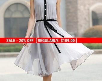 grey dress, chiffon dress, blew knee length dress, sleeveless dresss, cute dress, elastic waist dress, shirt dress, summer dress (917)
