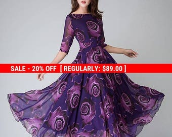 Purple Floral Dress, women dresses, maxi dress, half sleeve dress,Party dress, prom dress, print dress,Long chiffon dress, Custom dress 1529