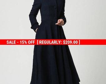 long wool coat, Womens coats, Navy Blue coat,  Wool Coat, Hooded Coat, long jacket, plus size Coat, mod clothing, Custom made clothing  1102