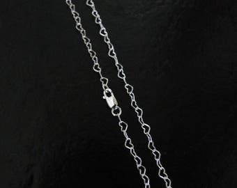 30 Inch - 925 Sterling Silver 3mm Heart Chain - Custom Lengths Available, Made in USA