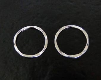 TWO Sterling Silver 15mm Hammered Round Links, Connector Rings, SC49