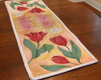 """floral table runner mixed media collage quilt art, 44""""x 15"""""""