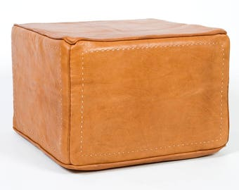 Heavy Leather handmade ottoman (square)
