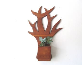 Vintage Wall Hanging Houseplant Holder, Bare Tree, Carved Wood