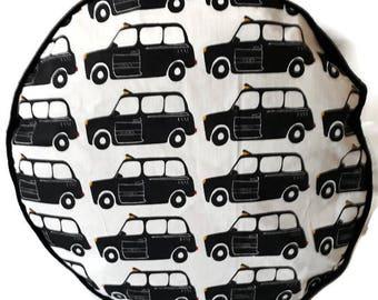 London Black Taxi Cab Round Pouffe Home Decor item  Floor Cushion Decorative Pillow Cushion Furniture Housewarming Gift
