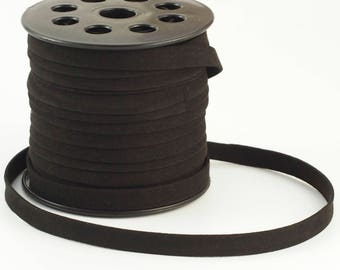 10mm Flat Jet Black Faux Suede Cord - By The Yard