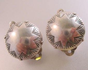 XMAS in JULY SALE Joan Slifka Designs Sterling Silver Button Clip On Earrings Vintage Jewelry Jewellery
