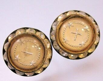 XMAS in JULY SALE Religious Easter Cross Earrings Crystal Rondelle Round Screwback 1940s Vintage Jewelry Jewellery