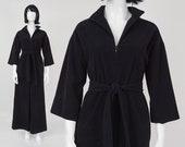 70s Black Fleece Jumpsuit | size Medium | Vanity Fair Winter Loungewear Palazzo Pant Romper Wide Leg with Tie Belt | S M