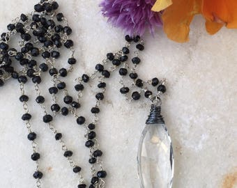 Long Necklace  Crystal Quartz Pendant  Big Gemstone Pendant  Black Spinel  Rosary Style Necklace  Natures Splendour