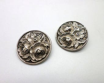 Vintage Sterling Silver Floral Repousse Clip Earrings