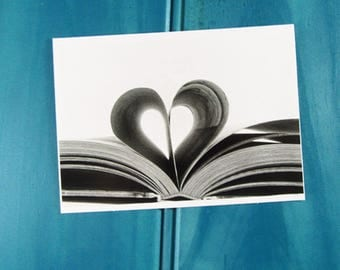 Book of Hearts Greeting Card   Blank Card   Thank You Card   Birthday Card  