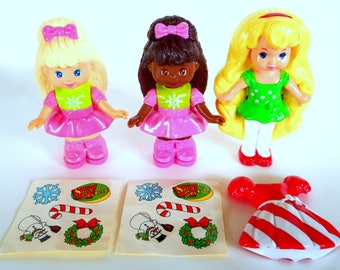 Vintage Mattel Dolls Sally Secrets and Lil Miss Candi Stripes Set of 3 McDonald's Totally Toy Holiday Happy Meal 1993