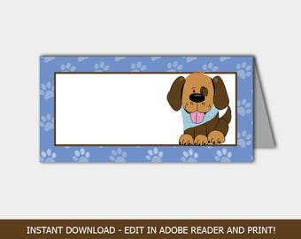 Handsome Puppy Dog Baby Shower Food Labels / Place Cards / Tent Cards / Editable PDF INSTANT DOWNLOAD bs-106