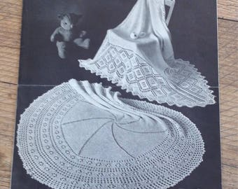 Vintage Knitting Pattern Baby Shawls, Vintage Knitted Lacy Shawl Pattern, Baby Shawls,PDF Instant Download