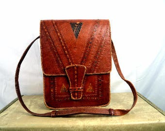 Vintage Ethnic Tooled Leather Purse Tote