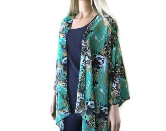 Andalucia Kimono cardigan Jacket- Green,Tan,Black - Chiffon kimono with abstract print-Ruana cardigan -Layering piece-Many colors