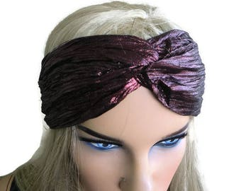Metallic Brown Bordeaux turban-Adult turban headband in dark brownish bordeaux-Many colors to choose from