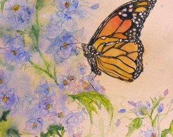 Original butterfly flower watercolor painting impressionism garden art, black butterfly daisies fine art, home decor,wall decor,abstract art