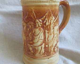 Old ceramic beer tankard stein 18 oz lager mug rustic pub gift for dad
