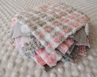Vintage Chenille Fabric Quilt Squares - 15 - 6 inch squares, grey & pink, all different - 500-155