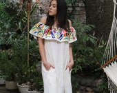 OTOMI Multi colored and beige Gorgeous lightweight Off the shoulder plus sized Maxi dress