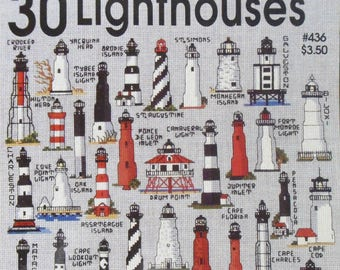 Vintage 30 Lighthouses Cross Stitch Leaflet #436 One Nighters Jeanette Crews Designs Inc.