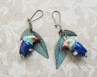 Tropical Jungle Toucan Bird Earrings on Etsy by APURPLEPALM