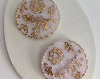 2 Vintage  Glass Buttons - Gold Metallic on Light Pink Glass
