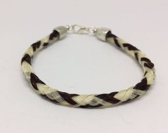 8 Inch Sorrel/White Horse Hair Braided Horsehair Bracelet - 6MM Round Braid