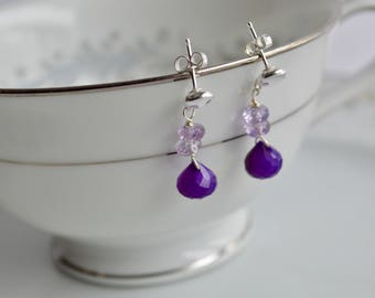 Ametrine and chalcedony dangle earrings, ametrine jewelry, genuine gemstone, gift for her