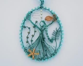 Undersea Goddess pendant, underwater pendant, undersea scene, ooak wire pendant, wire goddess, sea goddess, ocean goddess, Amphitrite, waves