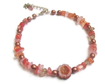 Anklet Czech Glass Pansy Focal with Pink Pecah Glass Chips Larger Size