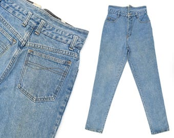 Vintage Jeans High Waisted Jeans Fold Over Jeans Faded Blue Jeans Slim Fit Jeans Fold Over Waistband STEEL Jeans 80s Mom Jeans 28 W