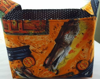 Halloween Fabric Organizer Basket Storage Bin Container - Vintage Casket Clocks