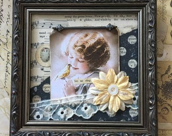 Ornate Framed Vintage Photo Young Girl with Bird