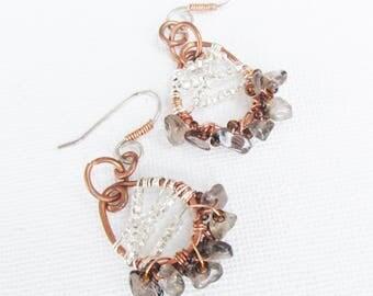 Smoky Quartz Earrings Copper Hoop Earrings Gemstone Chandelier Earrings Seed Beads Sterling Silver Ear Wires