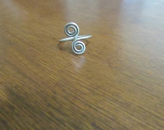 Sterling Silver Double Spiral Swirl Coiled Pinky Ring – Small Ring Size 4.5 – Vintage Sterling Silver Jewelry