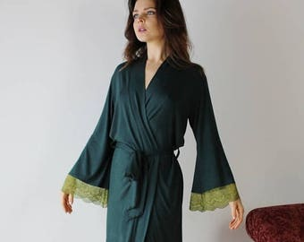 lace trimmed robe in bamboo for lingerie or loungewear - ICON - made to order