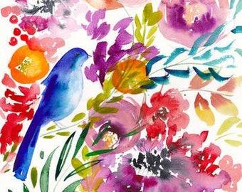 Bluebird Amongst the Blooms Art Print - Bird Art - Flowers - Garden - Floral - Watercolor - Leaves - Gallery Wall - Contemporary Modern Art