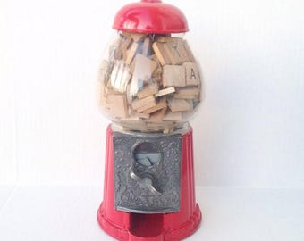 SALE Vintage red Carousel gumball machine filled with wood Scrabble tiles.  Toys.